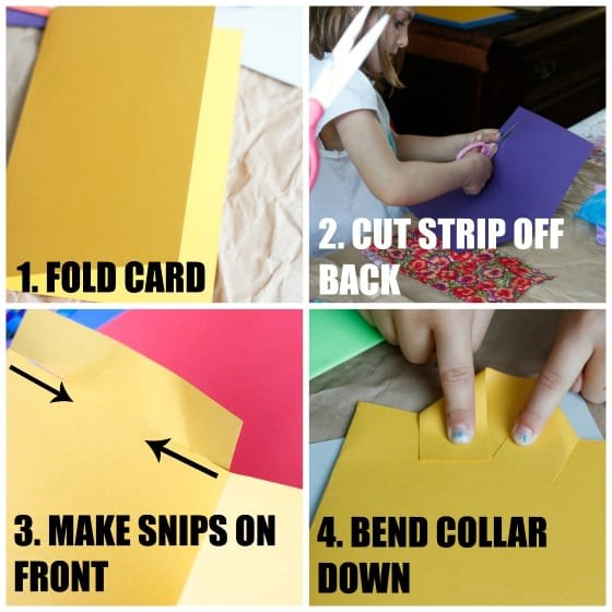 How to make collar on shirt and tie card