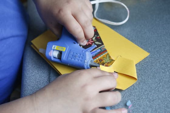 child paper card low heat glue gun