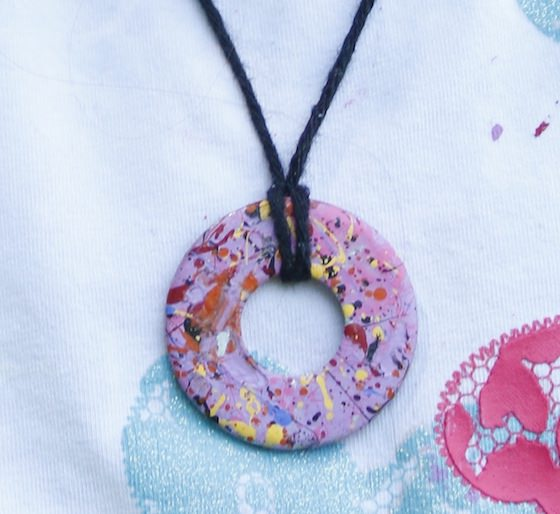 close up painted washer necklace