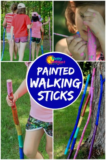 Kid-Made Painted Walking Sticks