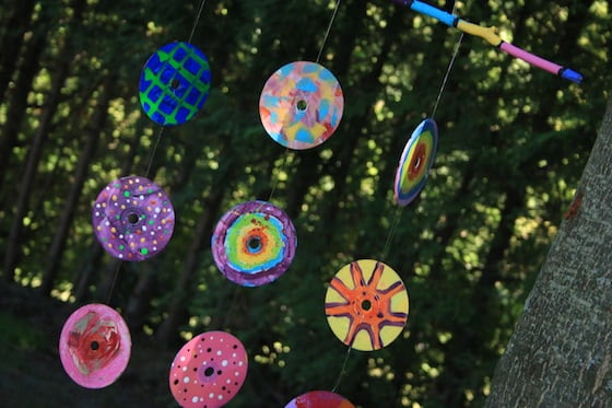 Colourful mobile made from painted CDs