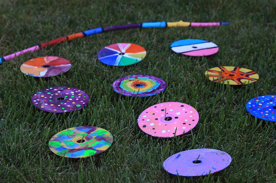 painted cds on the grass