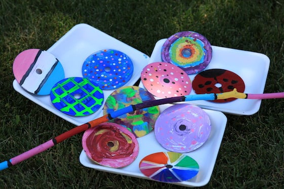 Painted CDs and Painted Stick
