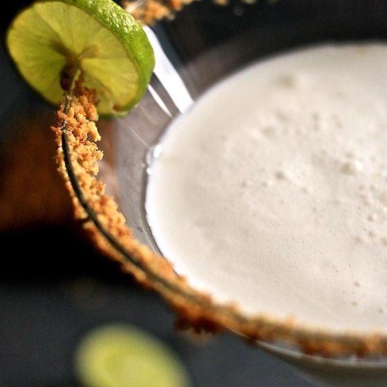 Close Up Key Lime Martini with Lime Garnish