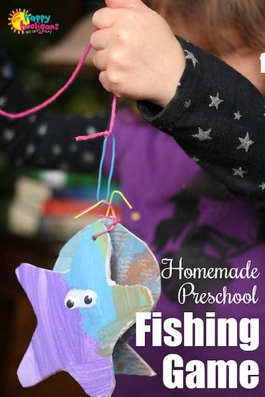 Homemade Fishing Game for preschoolers