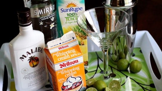 Ingredients for Key Lime Pie Martini