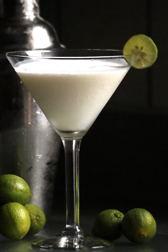 Key Lime Pie Martini with Martini Shaker and Key Limes