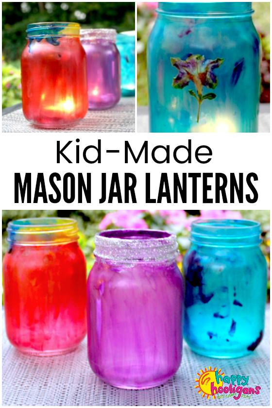 Mason Jar Lanterns for kids to make with white glue and food colouring. These colourful lanterns make a lovely homemade ornament for your backyard or a great gift for kids to make for parents, grandparents and teachers.#HappyHooligans #Homemade #CraftyKids #KidsArt #KidsCrafts #MasonJars #MasonJarCrafts #BackYardOrnaments #HomemadeGifts