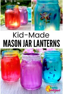 Colourful Mason Jar Lanterns for Kids to Make
