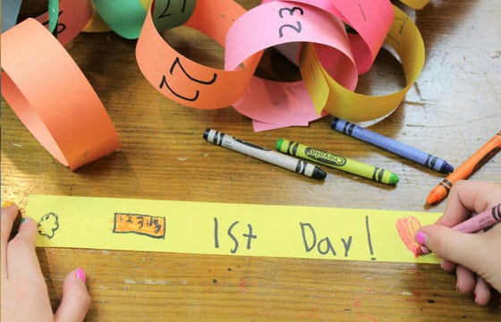 1st day of school link for paper chain countdown calendar