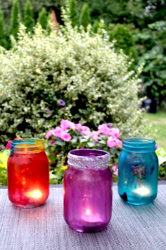 mason jars painted glue and food colouring