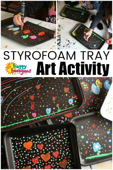 Making Art with Liquid Chalk Markers and Styrofoam Produce Trays