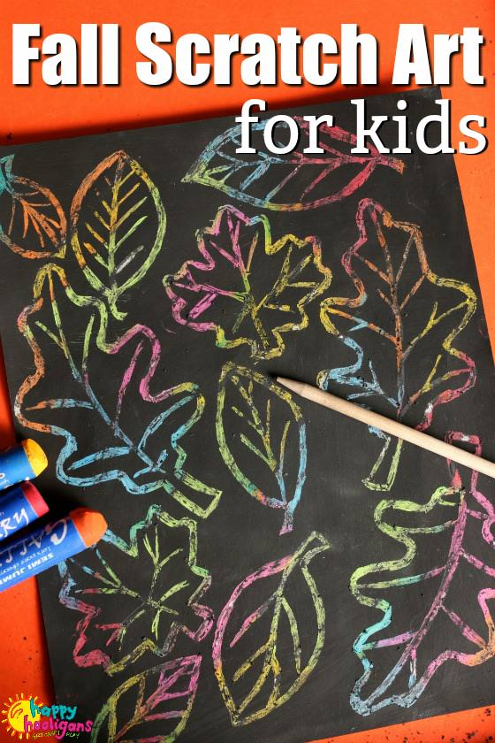 Fall Leaf Scratch Art for Kids - Happy Hooligans