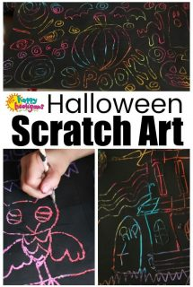 Halloween Scratch Art with Pastels and Black Paint