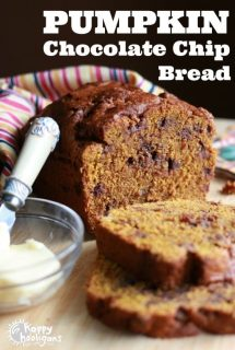 Pumpkin Chocolate Chip Bread with Whole Wheat Flour and Coconut Oil