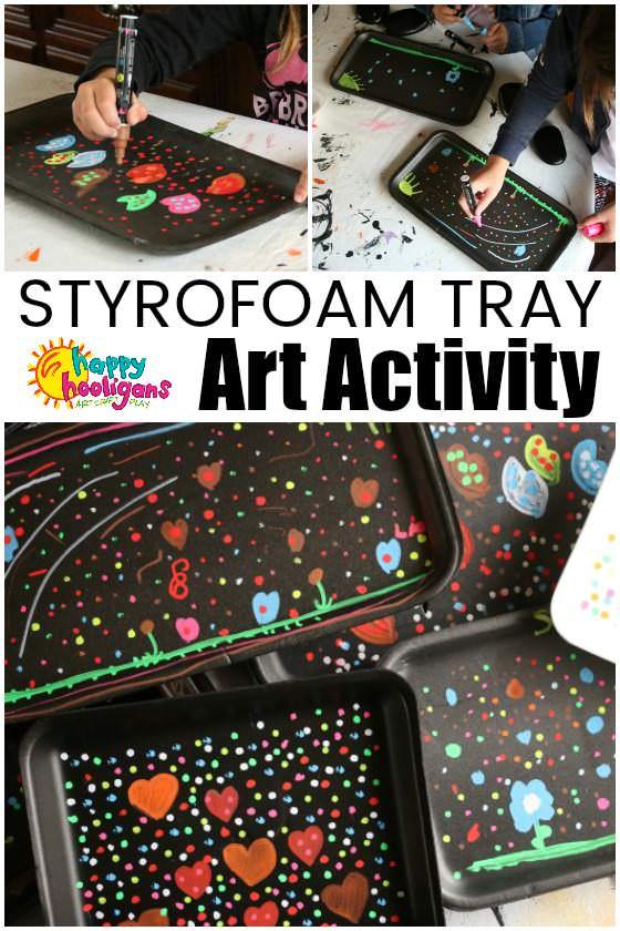 Liquid Chalk Markers with Styrofoam Produce Trays