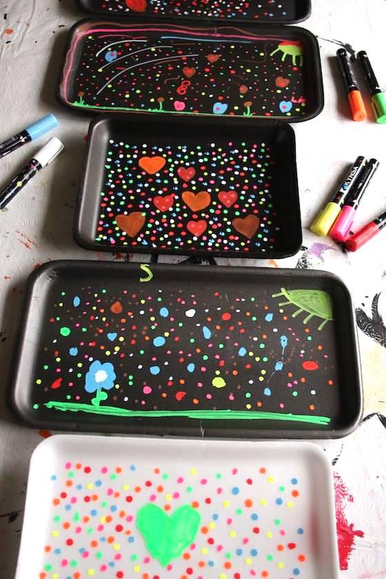 chalk art on styrofoam trays
