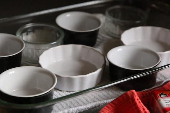 Creme Brûlée Ramekins in baking dish