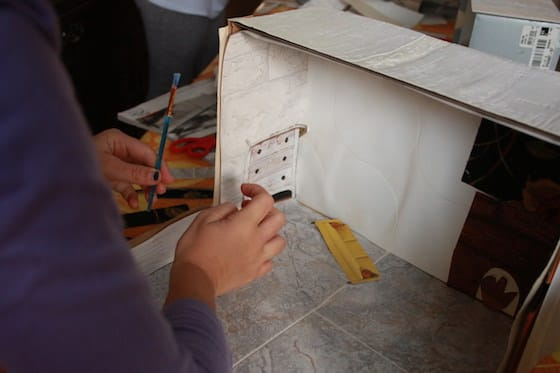 gluing furniture for shoebox dollhouse