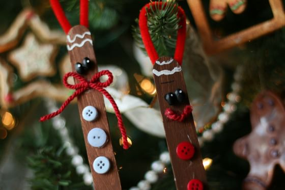 Craft Stick Gingerbread Men Ornaments for Kids