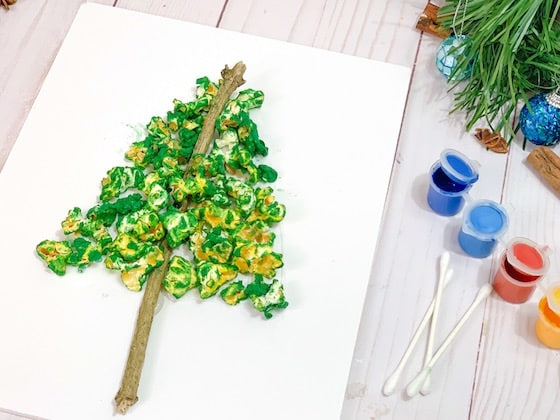 popcorn christmas tree and paints