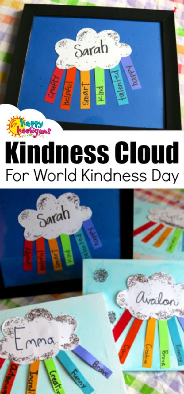 Framed Kindness Cloud for kids to make for a friend for World Kindness Day. This easy paper craft makes a thoughtful gift for a young child to give to a friend. #HappyHooligans #WorldKindnessDay #WorldKindnessDayCrafts #KindnessCrafts #PaperCrafts #RainbowCrafts #KidMadeGifts #KidsArt #KidsCrafts #CraftsForKids