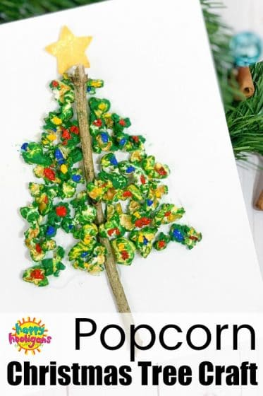 Popcorn Christmas Tree Craft for kids to make