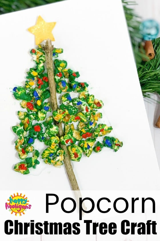This popcorn Christmas tree craft is fun and easy for toddlers and preschoolers. It strengthens fine-motor skills, and you'll have a cute piece of Christmas art to display in your home for the holidays.  #HappyHooligans #KidsCrafts #CraftyKids #ChristmasCrafts #ToddlerCrafts #PreschoolCrafts #Popcorn #ChristmasTree #ChristmasCraftsForKids