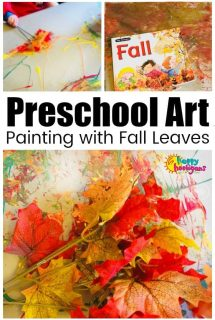Preschool Art Activity - Painting with Fall Leaves