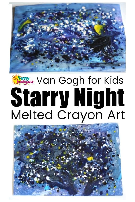 Starry Night Art Project for Kids – Melted Crayon Art