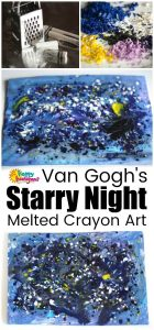 Van Gogh project for Kids - Melted Crayon Art