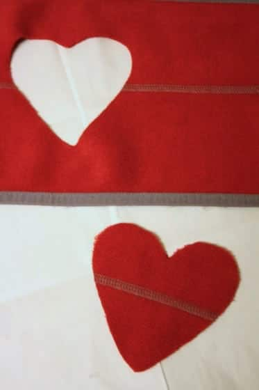 fleece heart red kids apron