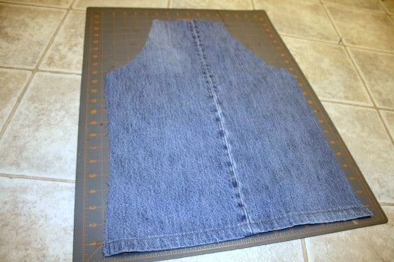 kids apron cut out of denim pantleg