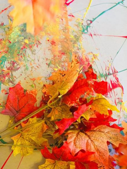 painting done with artificial fall leaves