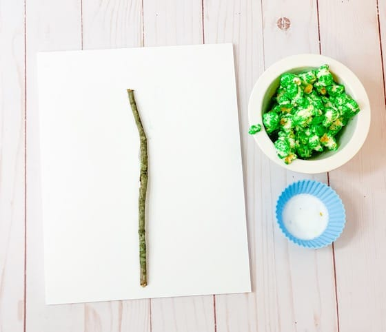stick and green popcorn