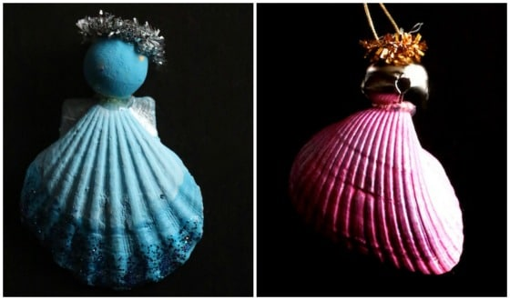 2 homemade seashell angel ornaments - blue and pink