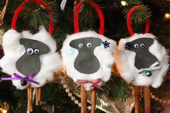 3 homemade sheep Christmas tree decorations