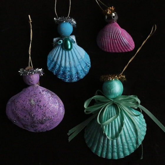 4 homemade sea shell angel ornaments