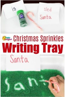 Christmas Sprinkles Writing Tray for Preschoolers 1