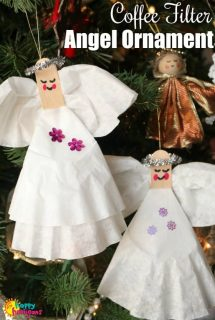 Coffee Filter Angel Ornaments on Christmas Tree