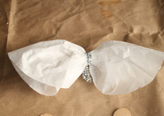 Making coffee filter angel wings