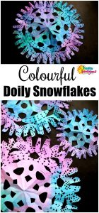 Colourful Paper Doily Snowflake Craft - Happy Hooligans
