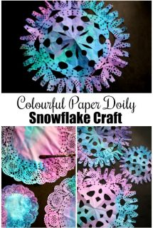 Colourful Paper Doily Snowflakes for Kids to Make