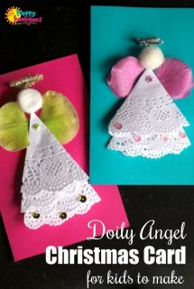 Doily Angel Christmas Card with Flower Petal Angel Wings