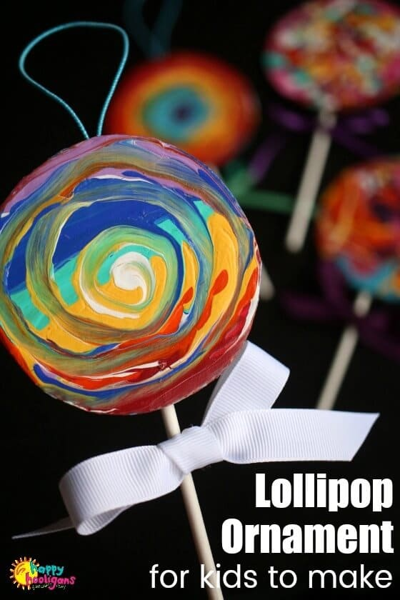 Easy Painted Lollipop Ornament for Kids to Make