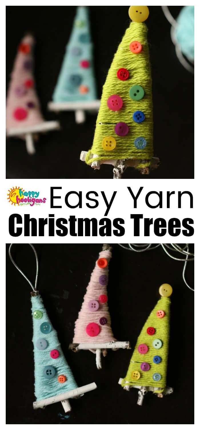 These precious Twig and Yarn Christmas Tree Ornaments are easy for kids of all ages to make with just a few basic supplies. Terrific for strengthening fine-motor skills!  #HappyHooligans #ChristmasCrafts #CraftsForKids #YarnCrafts #TwigCrafts #NatureCrafts #DaycareCrafts #CraftsForTweens #NatureCrafts #HomemadOrnaments