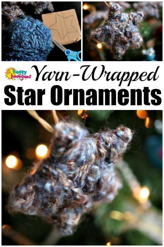 Easy Yarn Wrapped Star Ornaments