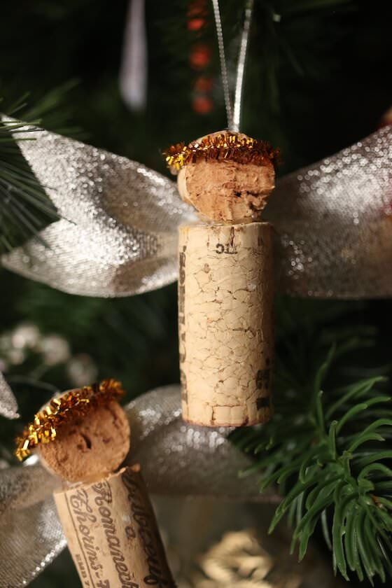 cork angels on Christmas tree
