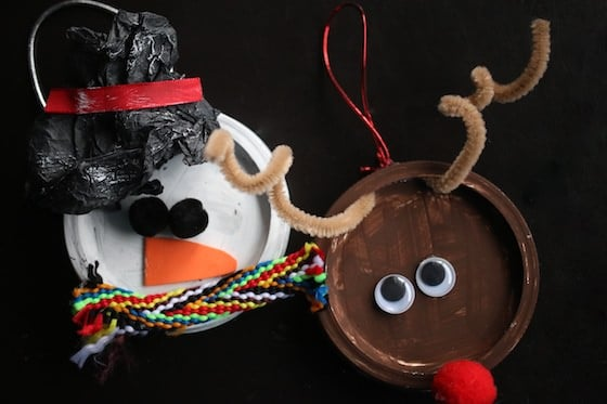 Mason Jar Lid Snowman Ornament and Rudolph Ornament