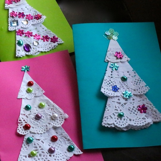Kid-Made Doily Christmas Tree Cards